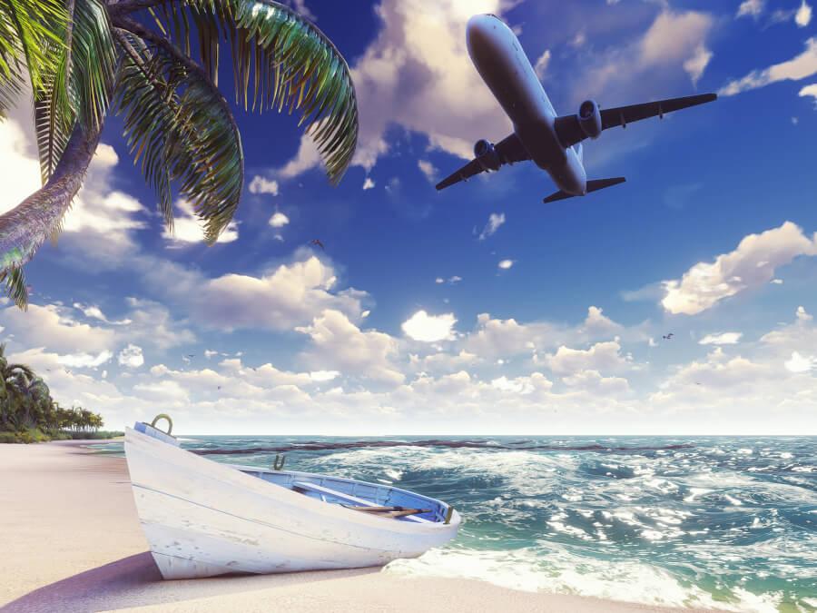 キレイな海と飛行機のイラスト