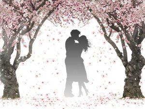キスをするカップルのシルエット